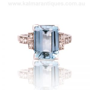 Platinum aquamarine and diamond ring from the Art Deco era