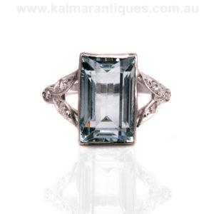 Platinum Art Deco aquamarine and diamond ring