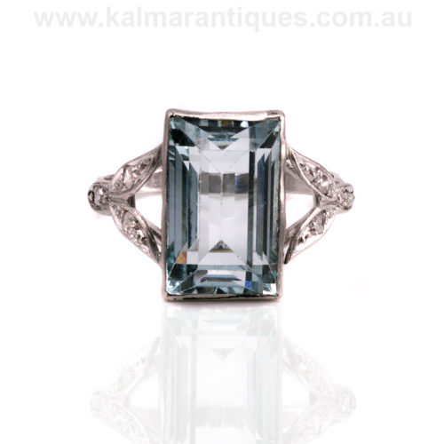 Platinum Art Deco aquamarine and diamond ring