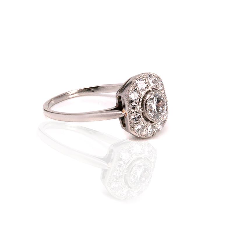 1920s Art Deco Diamond Engagement Ring Made In Platinum