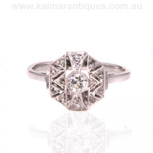 18ct and platinum Art Deco diamond ring made in France in the 1920's