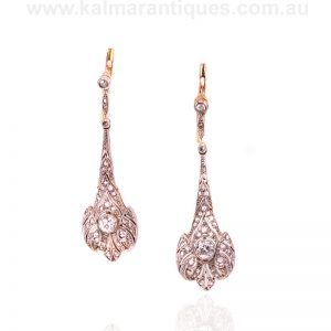 Art Deco diamond drop earrings handmade in gold and platinum