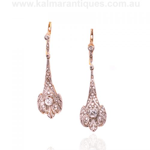Art Deco diamond drop earrings handmade in gold and platinum