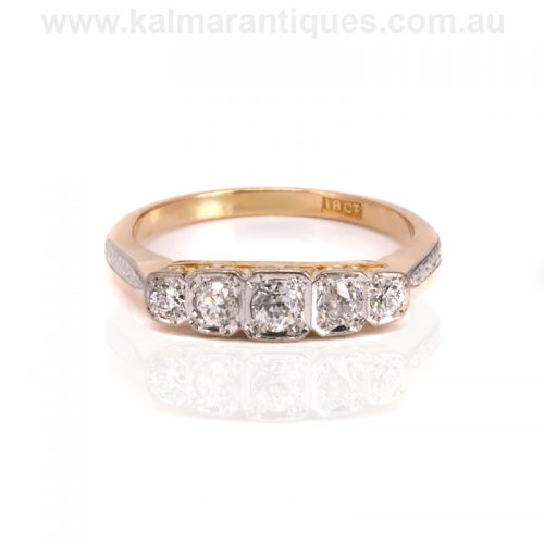 Hand made diamond engagement ring from the Art Deco era