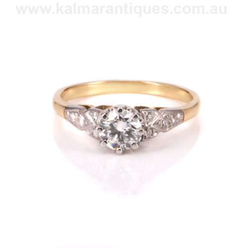 Art Deco diamond engagement ring in 18ct yellow gold and platinum
