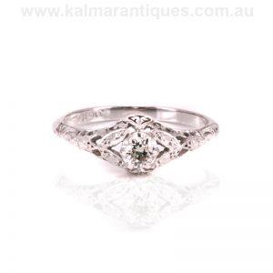 Gold and platinum Art Deco diamond engagement ring