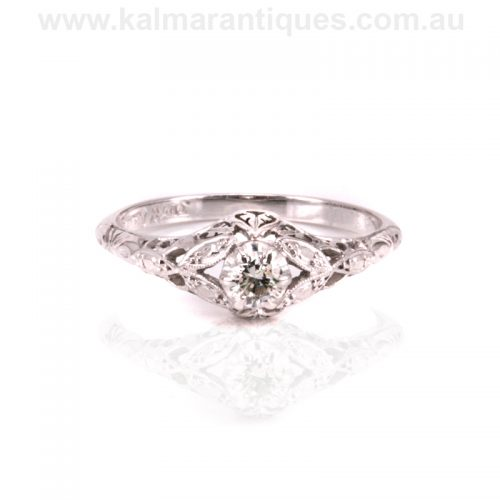 Gold and platinum Art Deco diamond engagement ring