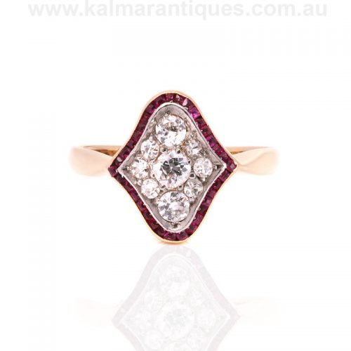 Fancy Art Deco ruby and diamond ring from the 1920's