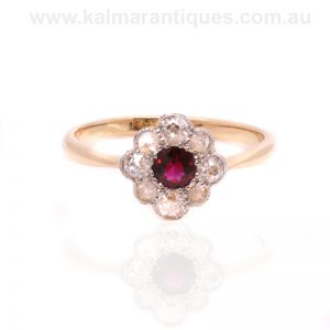 Art Deco ruby cluster ring set with European and rose cut diamonds