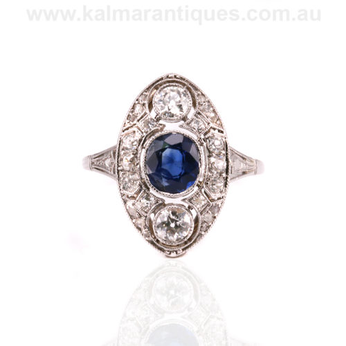 Art Deco sapphire and diamond ring made in Poland