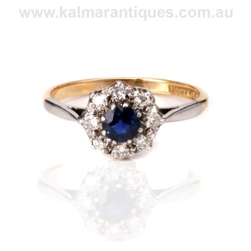 Art Deco sapphire and diamond engagement ring Sydney