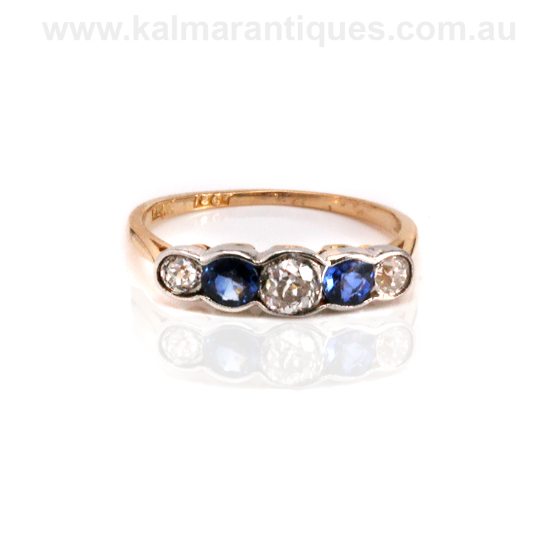 art deco sapphire and diamond engagement ring made in the
