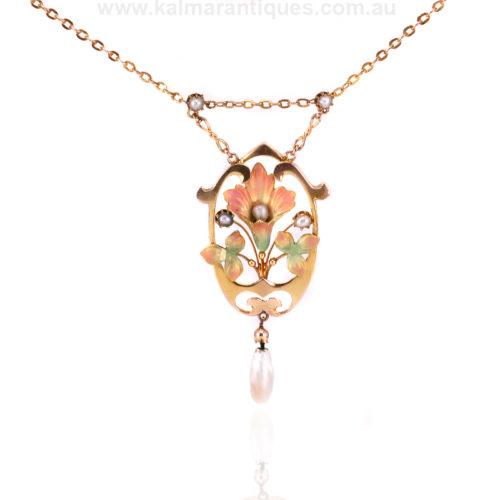 Antique Art Nouveau enamel and natural pearl necklace