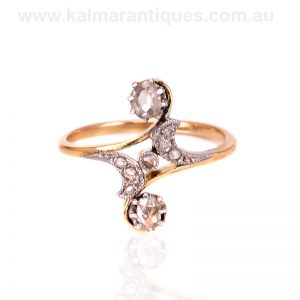 18 carat gold and platinum Art Nouveau diamond ring