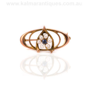 Art Nouveau sapphire and pearl brooch
