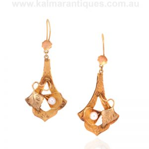 Antique Arts and Crafts pearl drop earrings made in the 1890s'