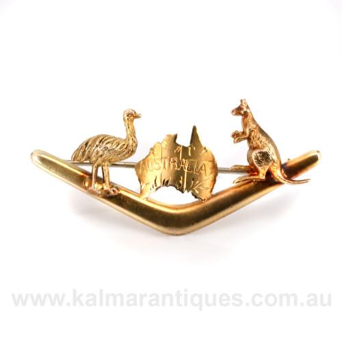 Australian boomerang kookaburra and emu brooch by Willis