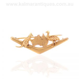 Antique boomerang, Australia, kangaroo and emu brooch by Simonsen