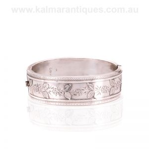 Antique sterling silver bangle with a leaf design made in 1890