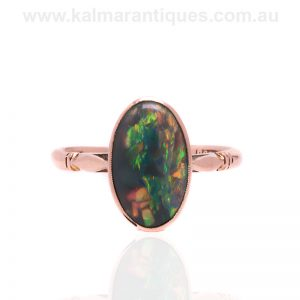 Solid Lightning Ridge black opal made by Prouds in the 1930's
