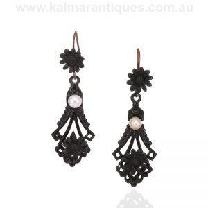 Antique bog oak and pearl drop earrings made in the 1860's