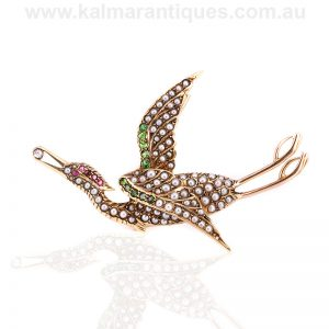 Antique brolga gem set brooch by Duggin Shappere and Co