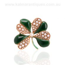 Enamelled antique four leaf clover brooch set with seed pearls