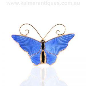 Sterling silver blue enamel butterfly brooch by David Andersen