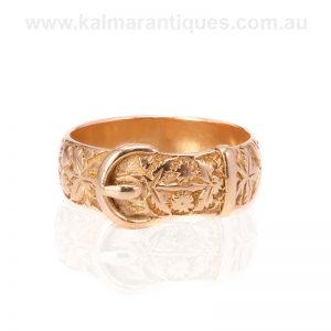 Beautifully hand engraved antique buckle ring made in 1885