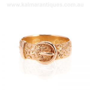 Hand engraved antique buckle ring made in London in 1910