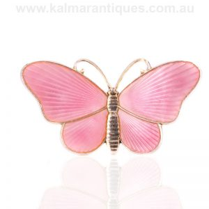 Vintage silver enamel pink butterfly made in the 1930's