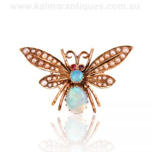 Antique butterfly brooch made by the early Australian company Duggin Shappere & Co