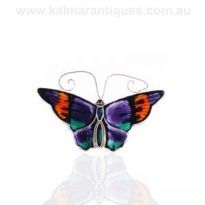 Sterling silver enamel butterfly brooch by David Anderson