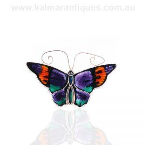 Sterling silver enamel butterfly brooch by David Anderson