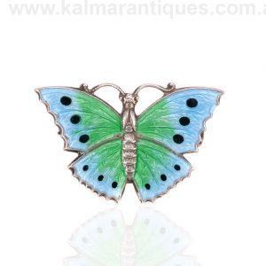 Vintage sterling silver enamel butterfly brooch made in the 1930's