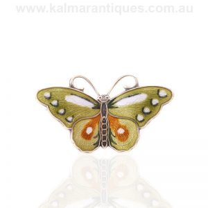 Vintage enamel butterfly brooch made by Hroar Prydz