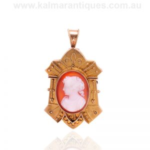 Antique hardstone cameo pendant that can be worn as a brooch