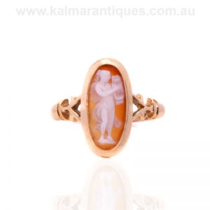 18 carat gold antique hardstone cameo ring made in 1899