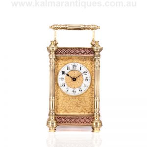 Beautiful antique carriage clock retailed by J Boseck & Co