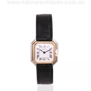 18 carat yellow and white gold Cartier Sextavado watch