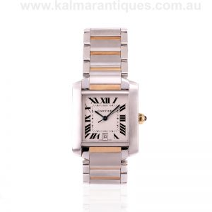 18 carat gold and steel Cartier Tank Francaise reference 2302