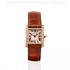 Ladies 18ct gold diamond set Cartier Tank Francaise watch reference 2385