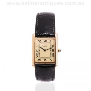 Ladies sterling silver gold plated vintage Cartier Tank watch