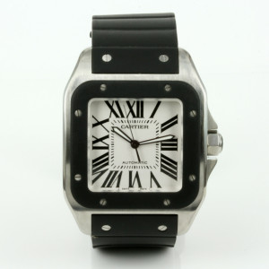 Steel and rubber Cartier Santos XL