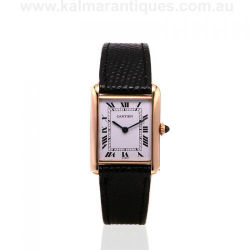 18ct yellow gold manual wind Cartier Tank watch