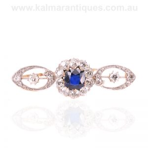 Unheat treated Ceylonese sapphire and diamond brooch