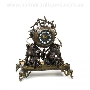 Antique French bronze clock by Farcot depicting Chinese fire dogs.