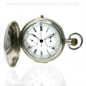 Sterling silver chronograph pocket watch
