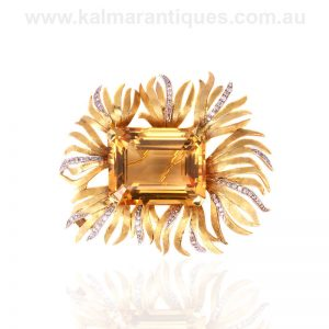 Vintage brooch set with a massive 135 carat citrine
