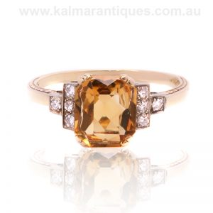 Art Deco citrine and diamond ring from the 1930's
